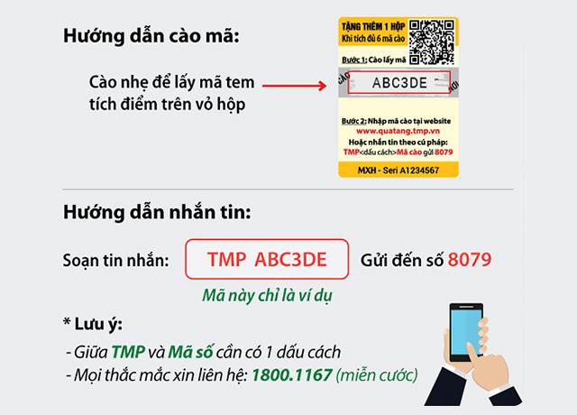 Cào tem nhận mã tích điểm nhắn tin nhận quà